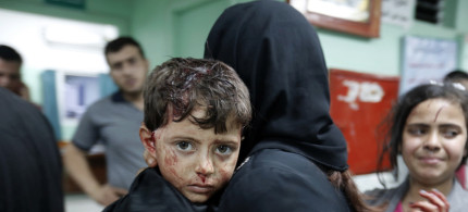 A boy who was injured by an explosion at a Hamas training camp at a hospital in Beit Lahiya, Gaza. (photo: AFP)