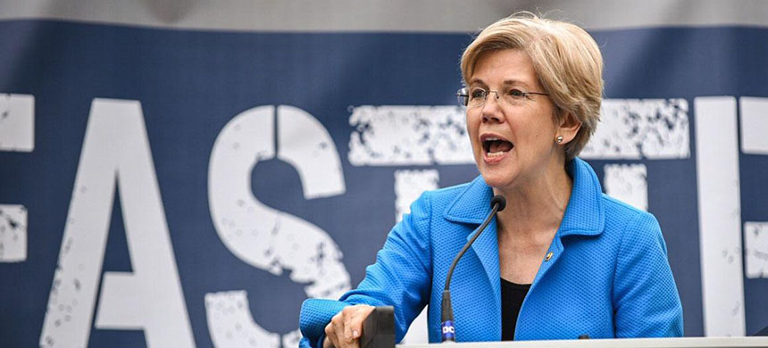 Senator Elizabeth Warren puts herself firmly in the labor camp Wednesday at a Capitol Hill rally against the trade legislation. (photo: John Shinkle/Politico)