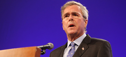Jeb Bush speaking at the Iowa Republican Party's Lincoln Dinner on Saturday May 16th. (photo: Scott Galindez/RSN)