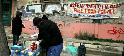 Poverty on the streets of downtown Athens. The authorities registered 20 percent more homeless in 2011. (photo: DPA)