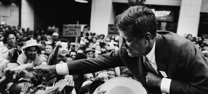 John F. Kennedy on the campaign trail in 1960. (photo: Ted Spiegel/CORBIS)