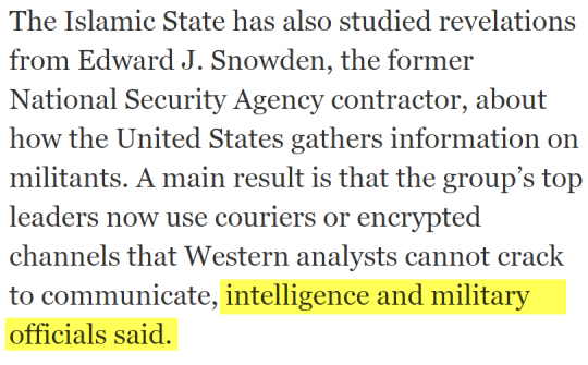 Excerpt with data on IS and leaked documents. (photo: The Intercept)
