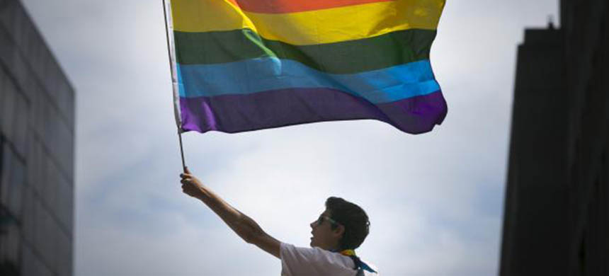 A man waves a rainbow flag while observing a gay pride parade in San Francisco, California June 28, 2015. (photo: Elijah Nouvelage/Reuters)