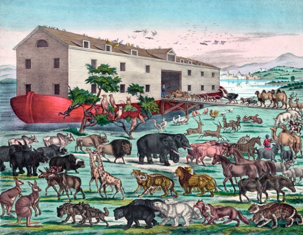 Noah's Ark and the General Deluge - a colour lithograph. (photo: Corbis)