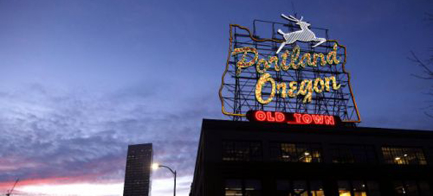 The 'Portland, Oregon' sign in downtown Portland, Oregon. (photo: Don Ryan/AP)