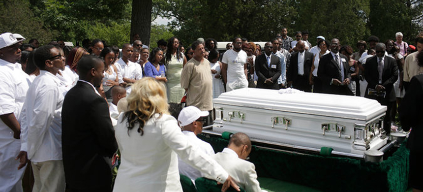 The burial service for Sandra Bland on Saturday in Lisle, Illinois. (photo: Joshua Lott/NYT)