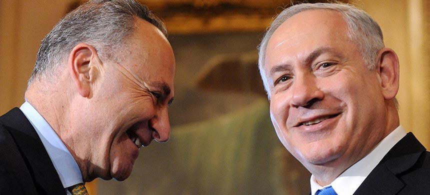 Charles Schumer and Prime Minister Benjamin Netanyahu. (photo: Getty Images)