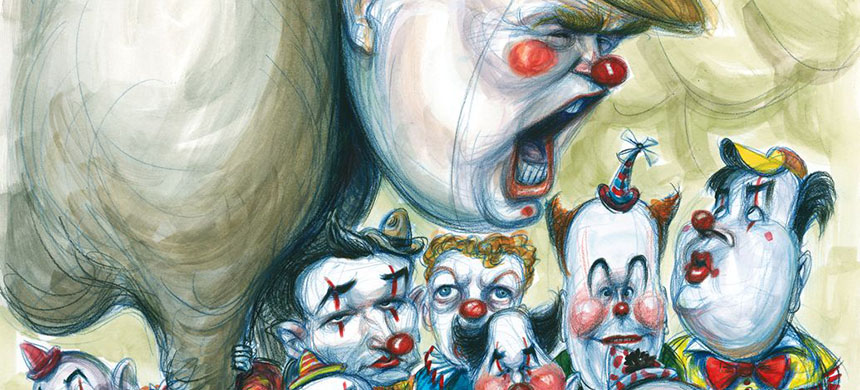 Matt Taibbi hit the road with the Republican Party circus. (illustration: Victor Juhasz)