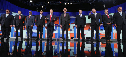 A photo from last night's Republican debate at the Ronald Reagan Presidential Library. (photo: Getty)