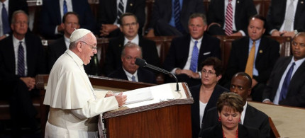 Pope Francis addresses a joint session of Congress. (photo: Pete Marovich/Bloomberg/Getty)