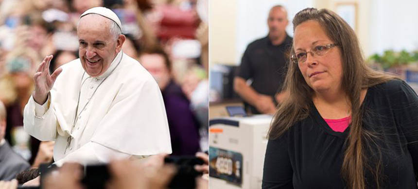 Pope Francis met with Rowan County, Kentucky, clerk Kim Davis during his U.S. visit. (photo: Matt Rourke/Ty Wright/Getty Images)