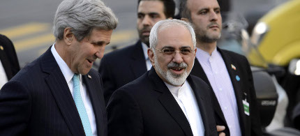 Secretary of State John Kerry and Iranian foreign minister Mohammad Javad Zarif. (photo: EPA)