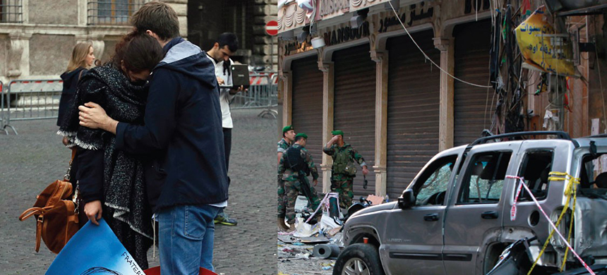 The aftermath of attacks in Paris, left, and Beirut, right. (photo: AP)