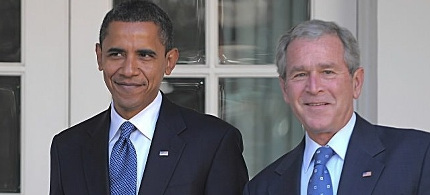 President Obama with George W. Bush. (photo: AP)