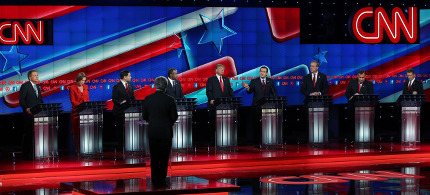 The last GOP debate of the year. (photo: Justin Sullivan/Getty Images)