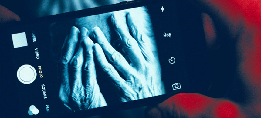 An investigation found nursing home workers posting inappropriate photos to social media. (image: Mary Jo Boughto/Getty Creative/David Sleight/ProPublica)