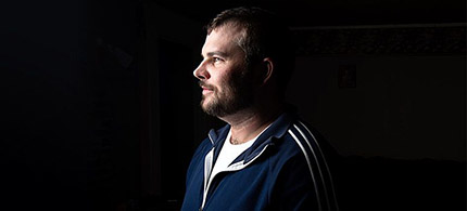 Shawn Cross of Lisbon, Maine, made the switch from opiate painkillers to heroin and became an addict. He now works at Catholic Charities and helps recovering addicts. (photo: Nikki Kahn/WP/Getty Images)