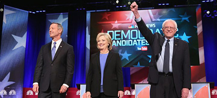 The Democratic candidates faced off in Charleston, South Carolina, Sunday evening. (photo: Randall Hill/Reuters)