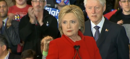 With the outcome of the Iowa Caucuses still in doubt, Democratic presidential candidate Hillary Clinton delivers a brief motivational speech before heading to the Airport. (photo: ABC News)