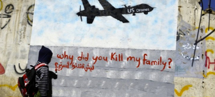 A mural calling attention to the impact of US drones in Sana'a, Yemen. (photo: EPA)