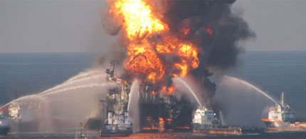 Flames engulf the Deepwater Horizon oil rig in the Gulf of Mexico, 04/26/10. (photo: AP)