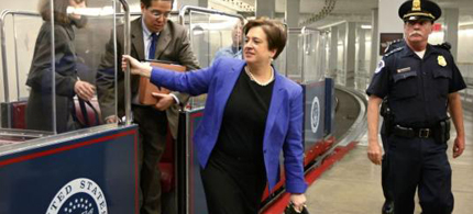 Elena Kagan, Supreme Court nominee, traversed Capitol Hill by tram as she made the rounds of Senate leaders Wednesday, 05/12/10. (photo: J. Scott Applewhite/AP)