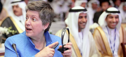 US Secretary of Homeland Security Janet Napolitano at a security conference in Abu Dhabi, 06/01/10. (photo: Getty Images)
