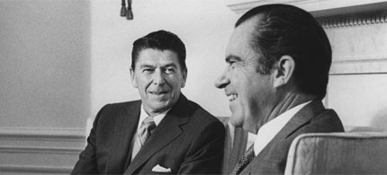Then-California Governor Ronald Reagan sharing a laugh with President Nixon, 06/15/70. (photo: UPI Photo/File)