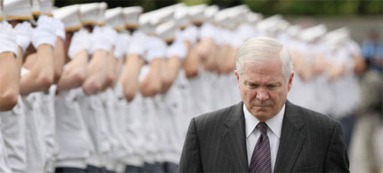 Secretary of Defense Robert Gates attends graduation ceremonies at West Point, 05/23/09. (photo: Spencer Platt/Getty)