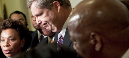 Secretary of Agriculture Thomas J. Vilsack met with members of the Congressional Black Caucus to discuss the forced resignation of Shirley Sherrod, 07/21/10. (photo: Getty Images)