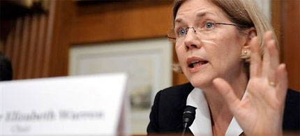 Prof. Elizabeth Warren, chairman of the Consumer Financial Protection Bureau set up to oversee the TARP program, 04/21/09. (photo: Tim Sloan/AFP)