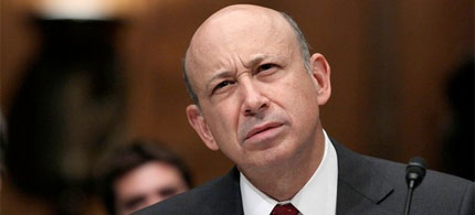 Goldman Sachs CEO Lloyd Blankfein during an exchange with Senator Carl Levin, 04/27/10. (photo: Getty Images)