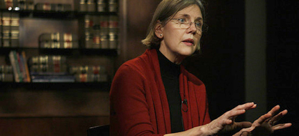 Elizabeth Warren, who chairs an oversight committee set up by Congress to oversee TARP, speaks during an interview. (photo: AP)