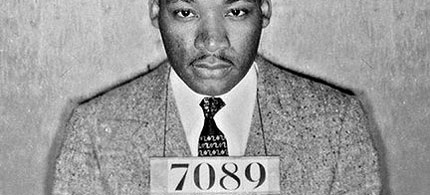 How much does Glenn Beck want to be like Martin Luther King? Dr. King after the bus boycott arrest by Alabama police, 02/22/56. (photo: King Archives)