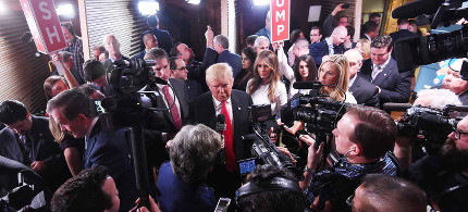 Donald Trump in the spin room after the February 13, 2016 CBS News Republican presidential debate in Greenville, South Carolina. (photo: Rainier Ehrhardt/AP)