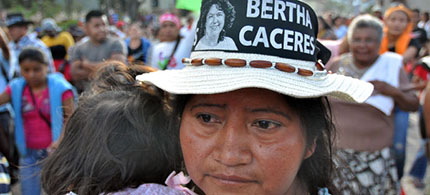 Demonstrators protest the murder of Berta Cáceres last week in La Esperanza, Honduras. (photo: STR/epa/Corbis)