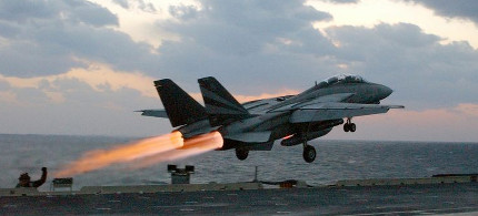 US jet takes off from aircraft carrier. (photo: YouTube)