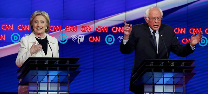 The Democratic presidential candidates, Hillary Clinton and Bernie Sanders, who went at each other fiercely during the debate, hosted by CNN and NY1, at the Brooklyn Navy Yard. (photo: Lucas Jackson/Reuters)