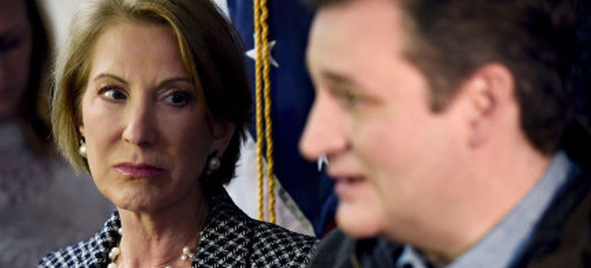 Carly Fiorina and Ted Cruz. (photo: Mark Kauzlarich/Reuters)