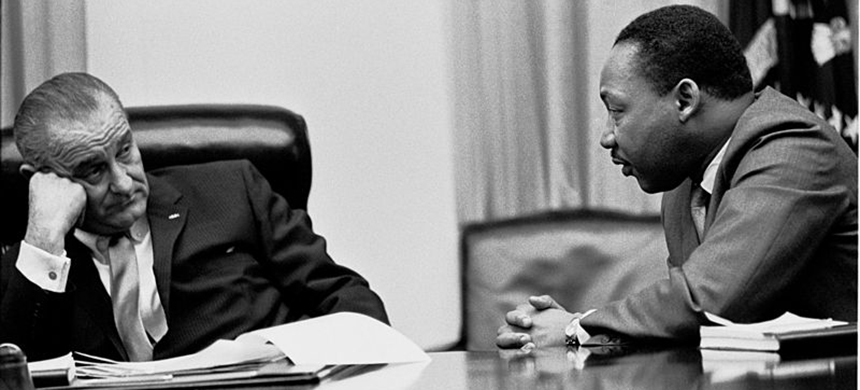 Martin Luther King Jr. meeting with President Lyndon Johnson at the White House in 1966. (photo: Wikimedia Commons)