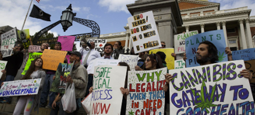Medical cannabis patients, families, and supporters demanding the government prioritize patients over politics in its decisions involving marijuana legalization. (photo: Evan Jones/Daily Free Press)