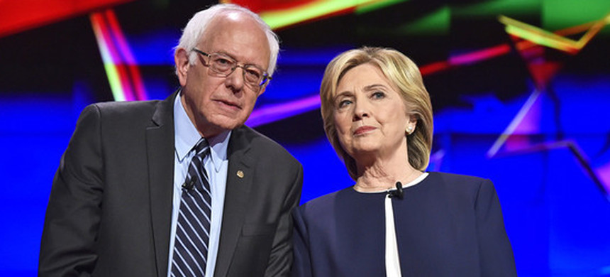 Democratic presidential candidates Senator Bernie Sanders of Vermont, left, and Hillary Clinton. (photo: Getty)