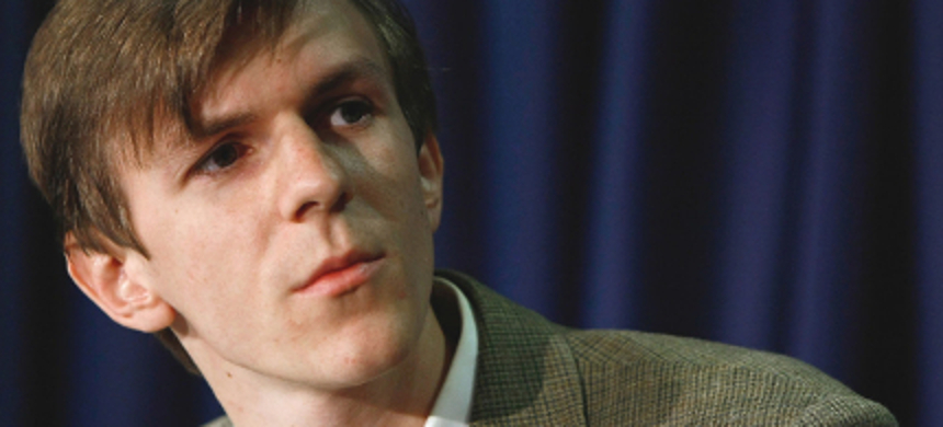 James O'Keefe III takes part in a press conference at the National Press Club in Washington, D.C. (photo: Win McNamee/Getty Images)