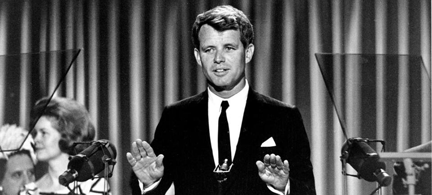 US Senator Robert Kennedy stood before the delegates at the Democratic National Convention in Atlantic City, N.J., on Aug. 28, 1964. (photo: AP)