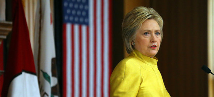 Hillary Clinton speaking at Stanford University in California on Wednesday. (photo: Reuters)