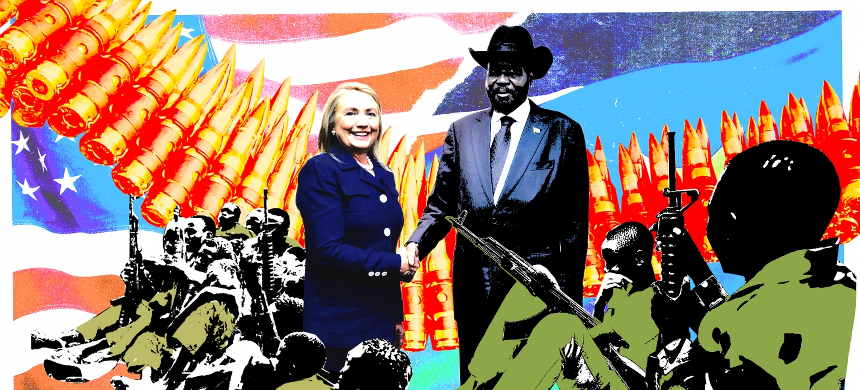 Illustration of Hillary Clinton with South Sudan's President Salva Kiir. (photo: Adam Maida)