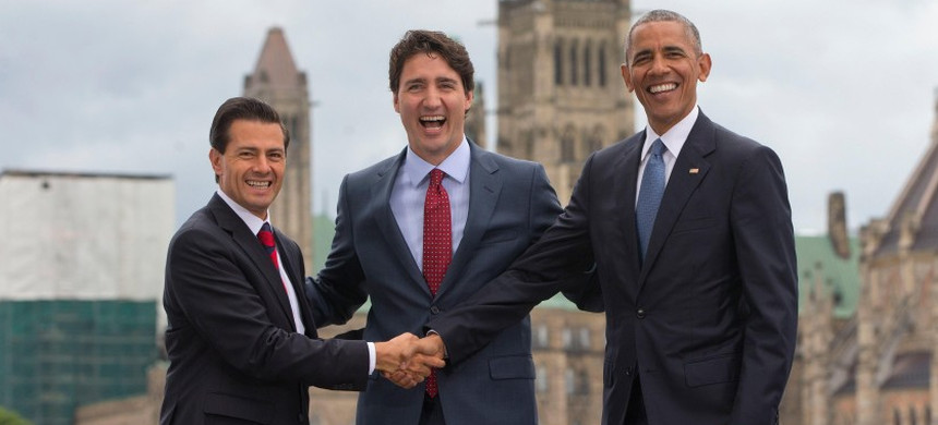 Mexican President Enrique Pena Nieto, Canadian PM Justin Trudeau, and US President Barack Obama. (photo: Jack Taylor/Getty)