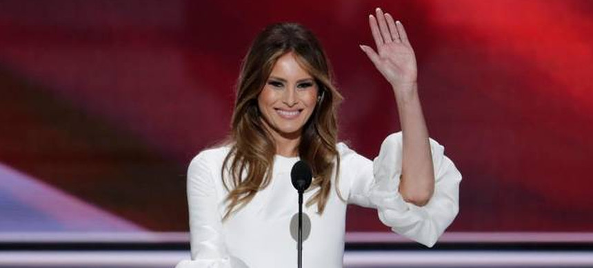 Melania Trump, wife of Republican presidential candidate Donald Trump, waves as she speaks during the Republican National Convention. (photo: Reuters)