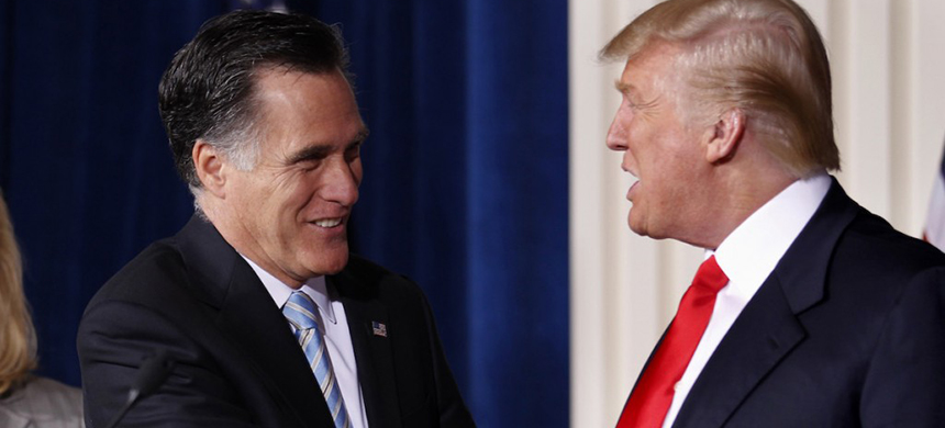Mitt Romney and Donald Trump. (photo: Gerald Herbert/AP)