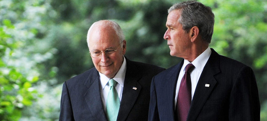President George W. Bush with Dick Cheney. (photo: Getty)